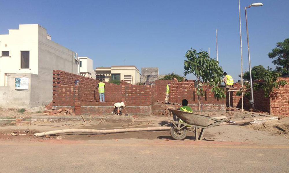 Brick work of walls for ground floor by team overc's